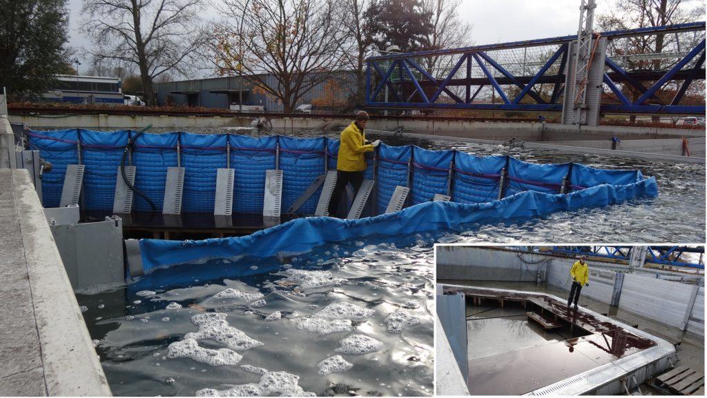 Das mobile Hochwasserschutzsystem die AquaWand aufgebaut und eingebaut durch eine Person