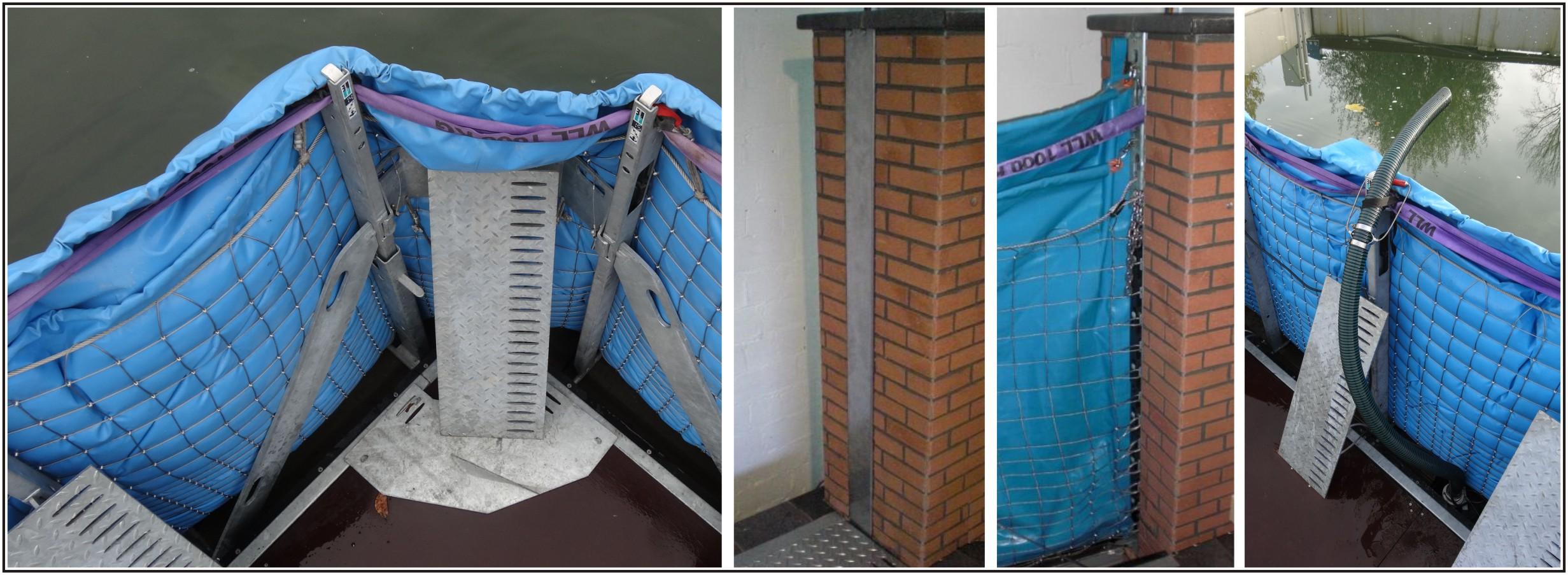 Ecken, Wandanschluss, Pumpenschacht des mobilen Hochwasserschutzsystems AquaWand