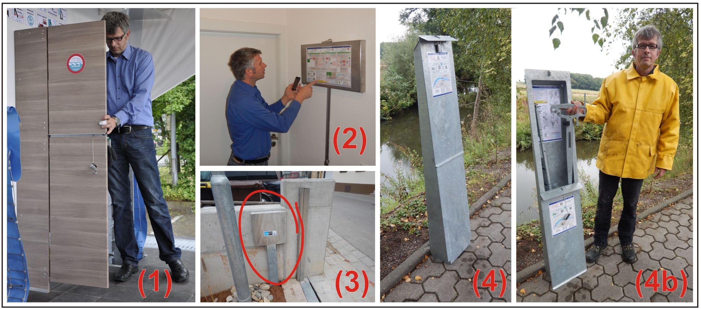 Lagerboxen mit Aufbauwerkzeug für den mobilen Hochwasserschutz AquaWand