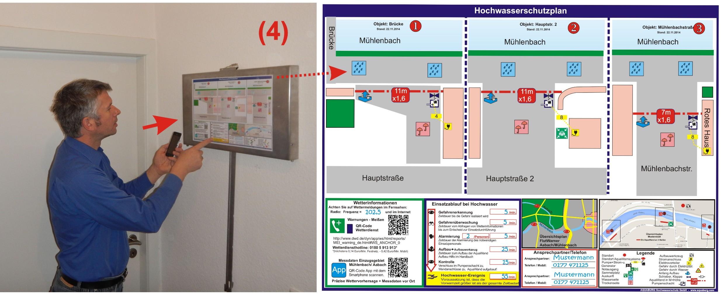 Hochwasserschutzplan mit Lagerbox und Aufbauwerkzeug im Gebäude