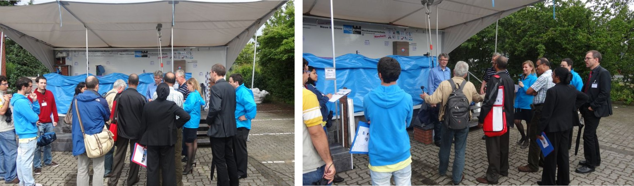 Die Vorstellung der mobile Hochwasserschutzes AquaWand mit dem Showmobil beim Kunden