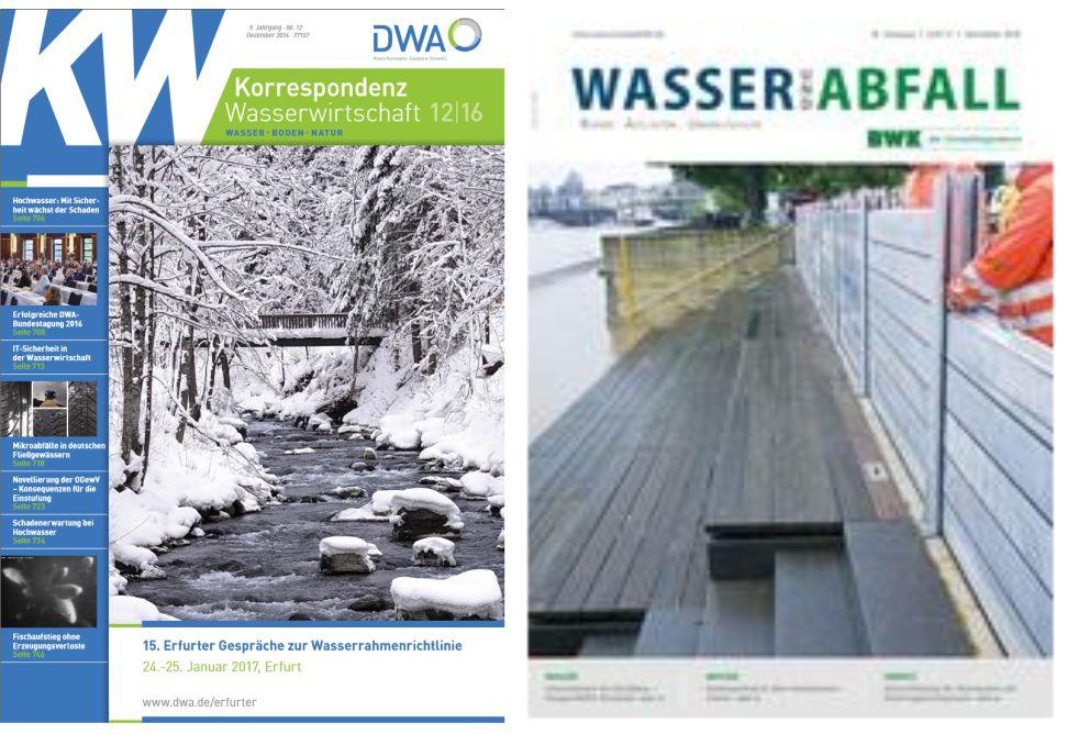 Fachzeitschriften der DWA und des BWK mit dem Thema mobiler Hochwasserschutz