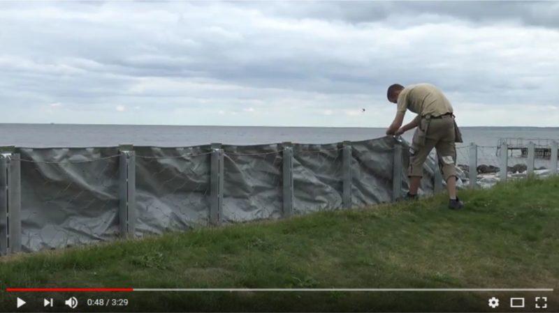 Mobiler Hochwasserschutz, die AquaWand70 an der Ostsee