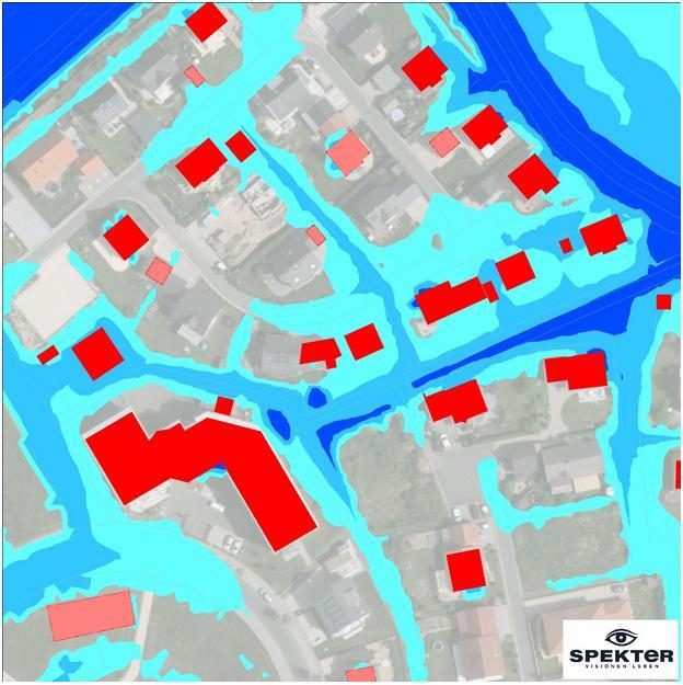 AQUABURG - Spekter - Starkregenkarte mit gefährdeten Opjekten