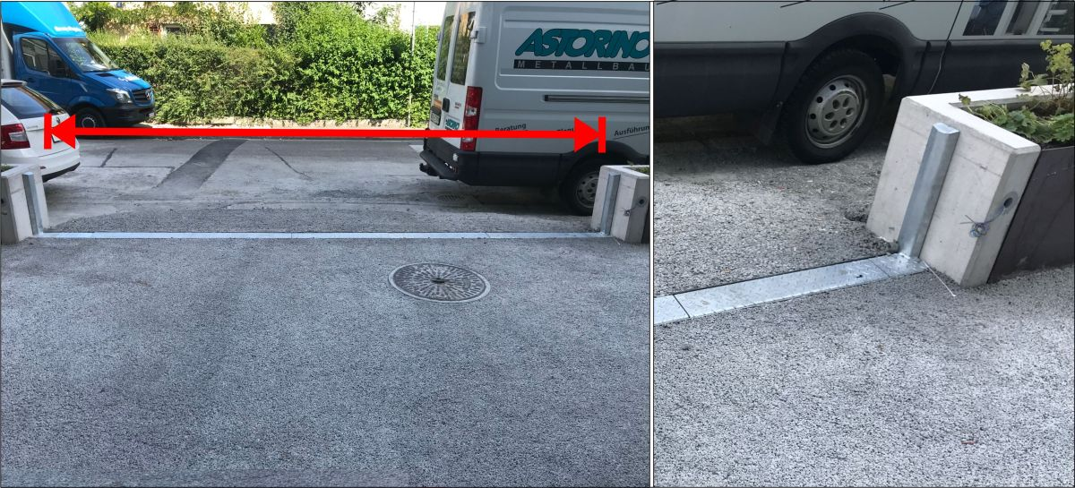 The AquaWand installed in a driveway with illustration of a wall cap