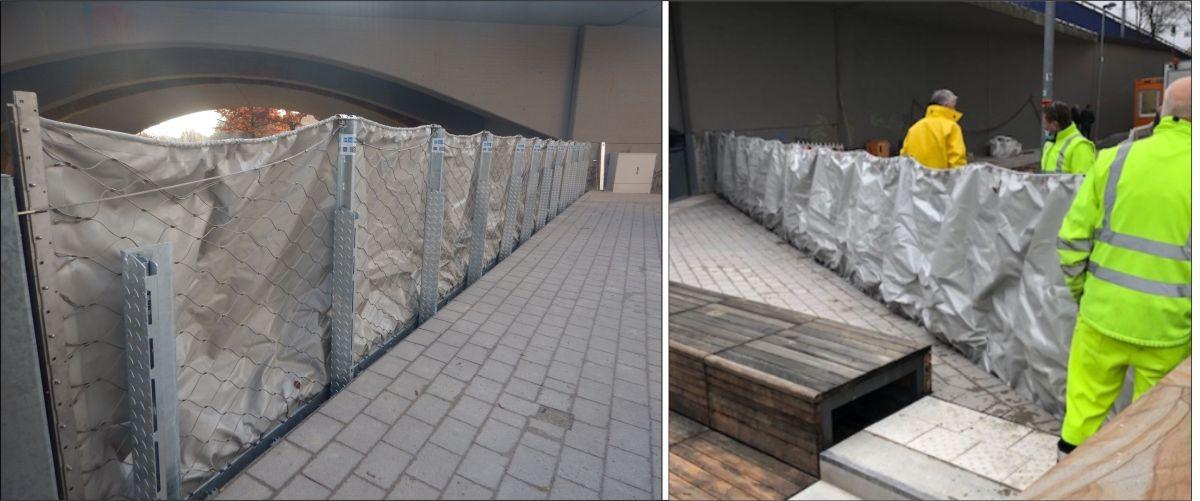zwei Bilder die AquaWand140 aufgebaut Ansicht von der Land- und Wasserseite