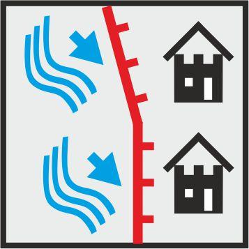 Icon mobiler Hochwasserschutz an einem Fluss