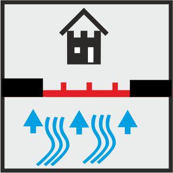 Icon mobiler Hochwasserschutz in einer Einfahrt
