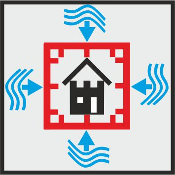 Icon mobile flood protection around a building