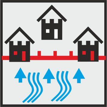 Icon mobiler Hochwasserschutz zwischen Häusern