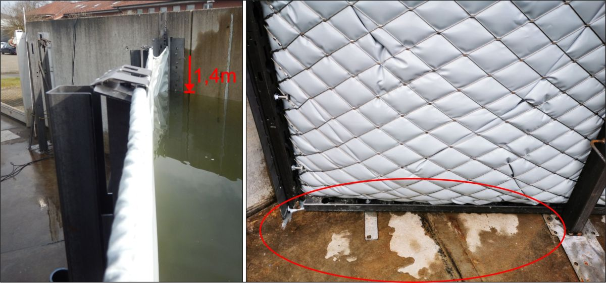 Bilder Wasseranstau des AquaVerschlusses und Bild keine Leckage und trockener Boden