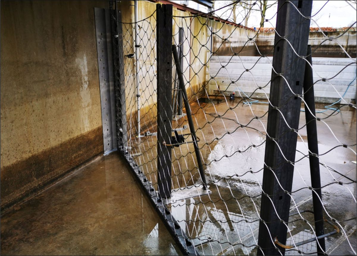 Bild: Pfosten stehen und das Netz ist eingehängt