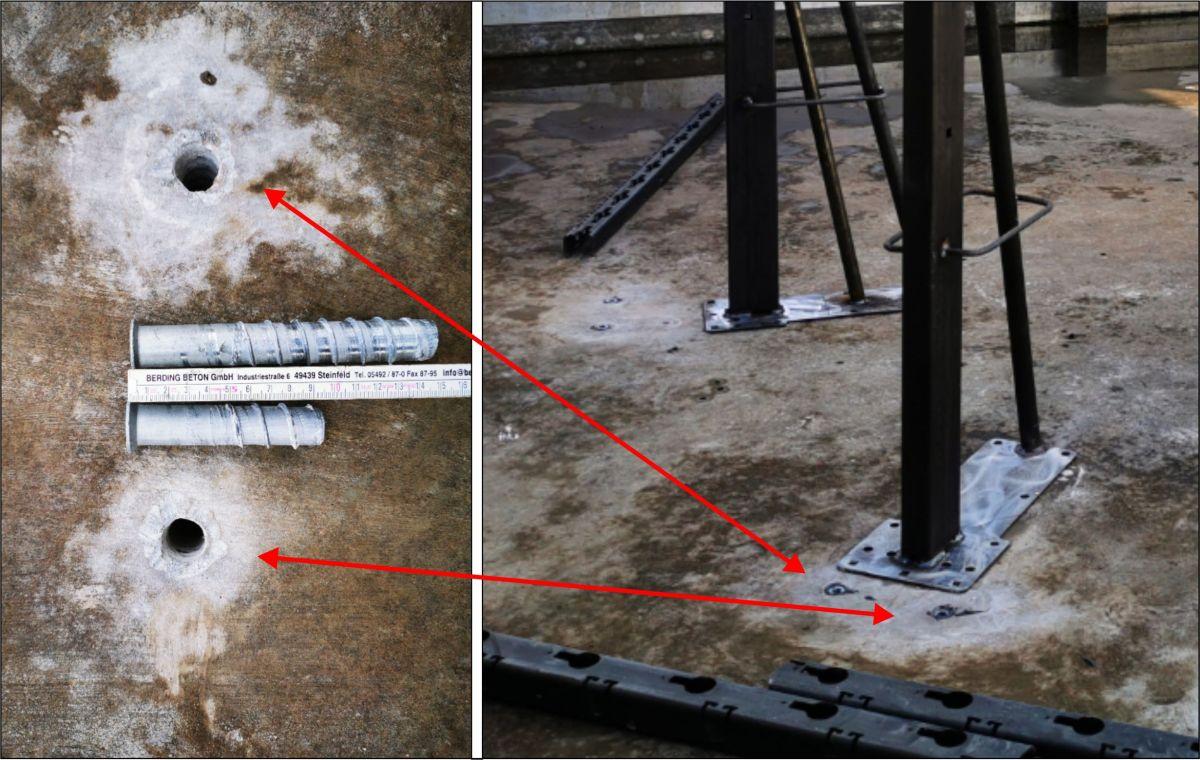 Bilder: Bodenhülsen in verschiedenen Längen und Bild Pfosten wird angeschraubt
