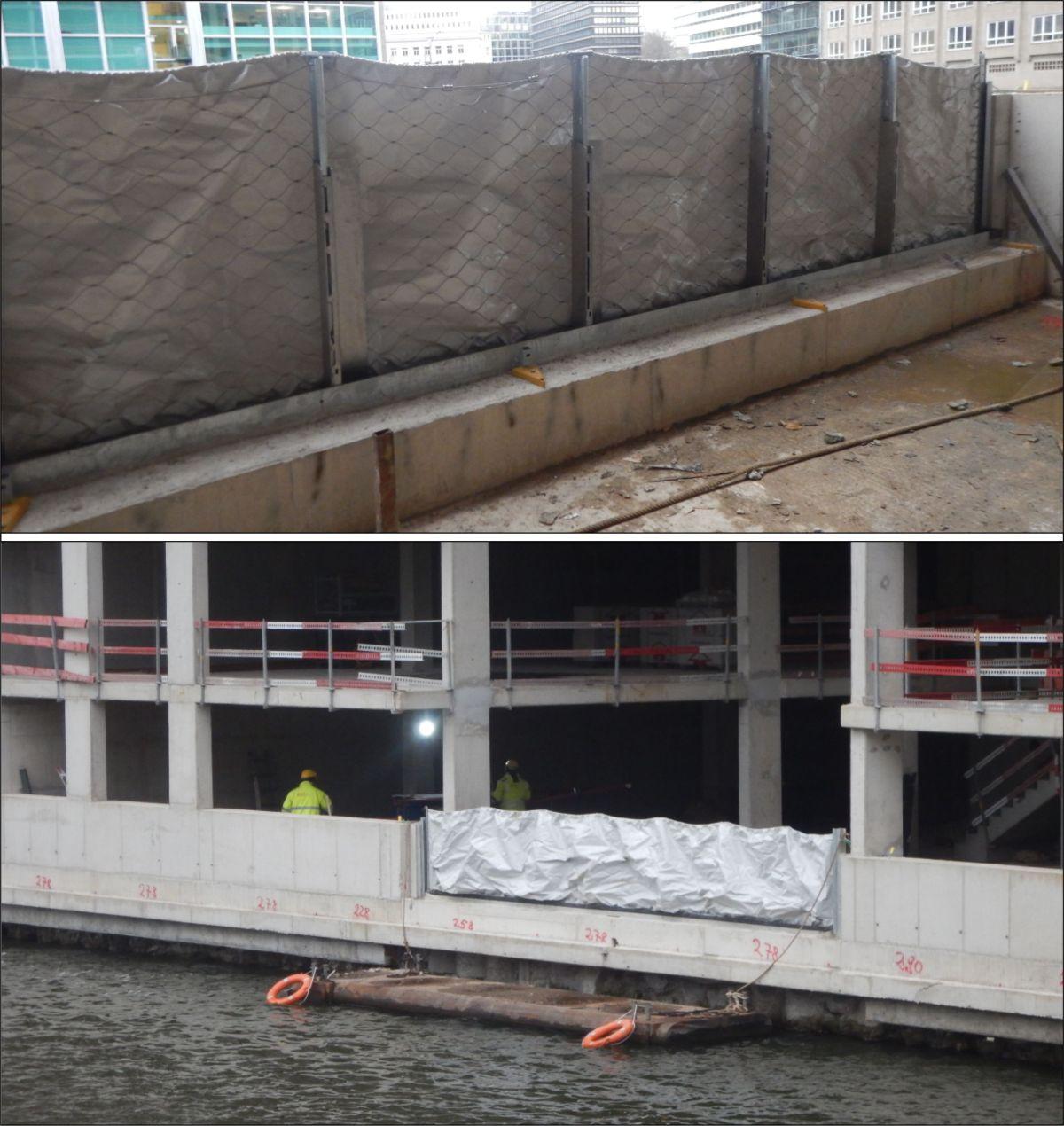 Bilder: die aufgebaute AquaWand mit der Ansicht von der Land- und Wasserseite
