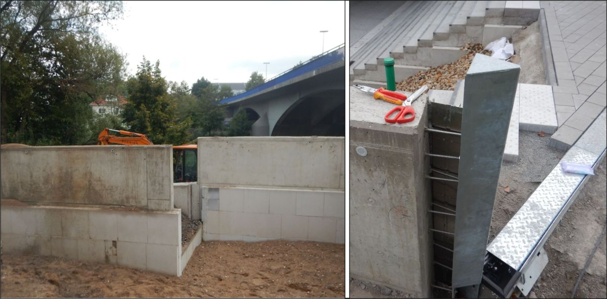 Bilder: Mauerlücken für den Einbau der AquaWand und Bild einer verschraubten Wandhalterung mit Dichtungsblech