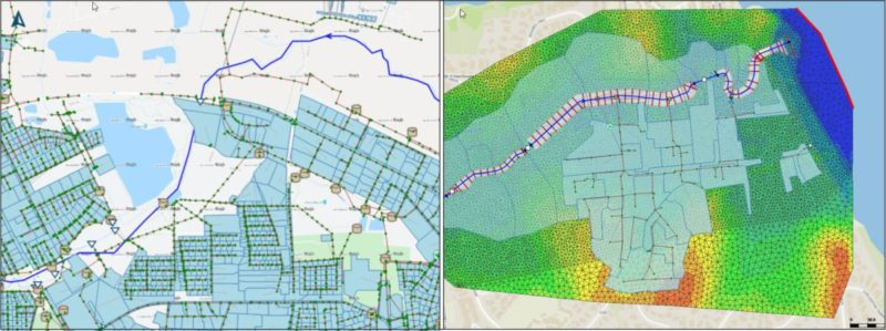 Karte einer Gewässer- und Entwässerungssystemmodellierung von DHI WASY