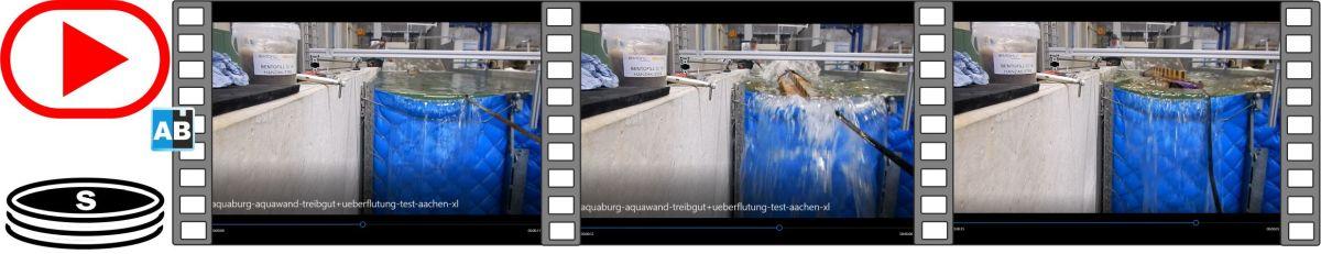 Film vom Treibgutanprall +Überflutung auf die AquaWand in der Versuchshalle der RWTH Aachen
