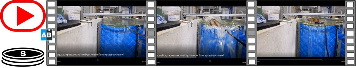 Film of flotsam impact +flooding on the AquaWand in the Verschuchshalle at RWTH Aachen University
