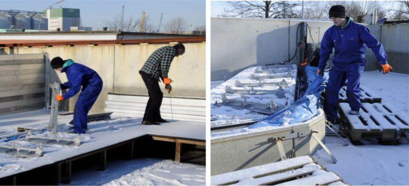 Aquaburg Extremtest Winteraufbau der AquaWand