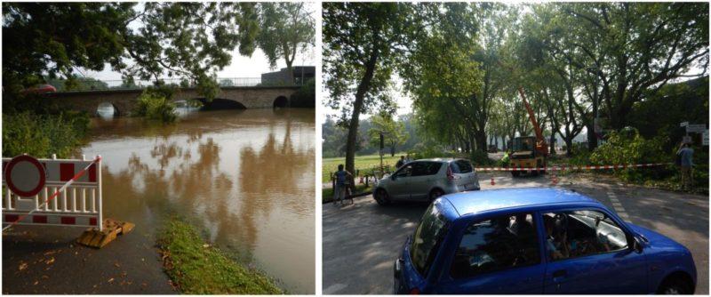 Straßen überflutet oder von Bäumen verschlossen