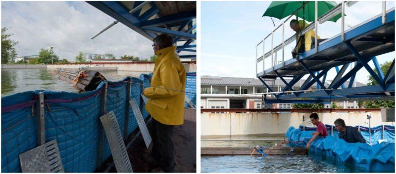 Vorbereitung eines Treibgutanpalls auf die AquaWand