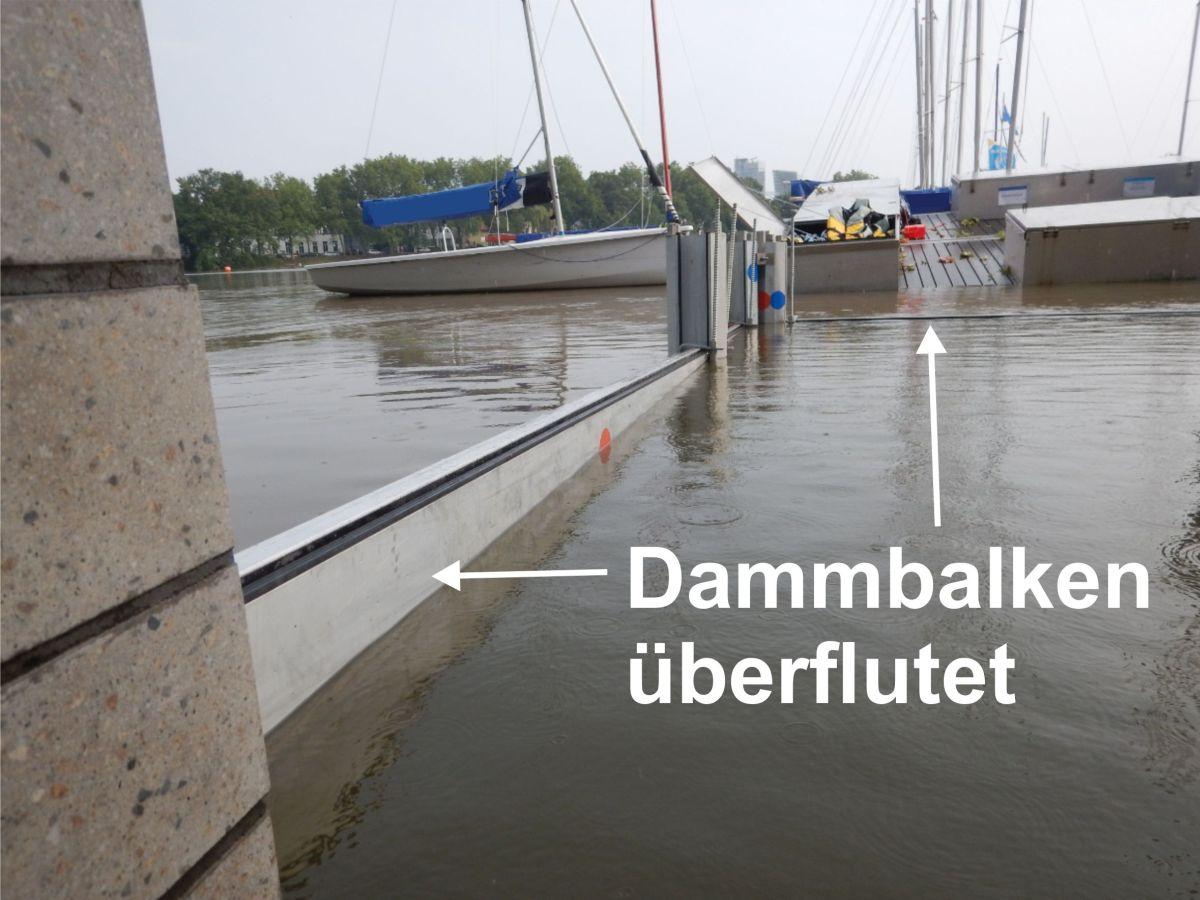 Dammbalken überflutet
