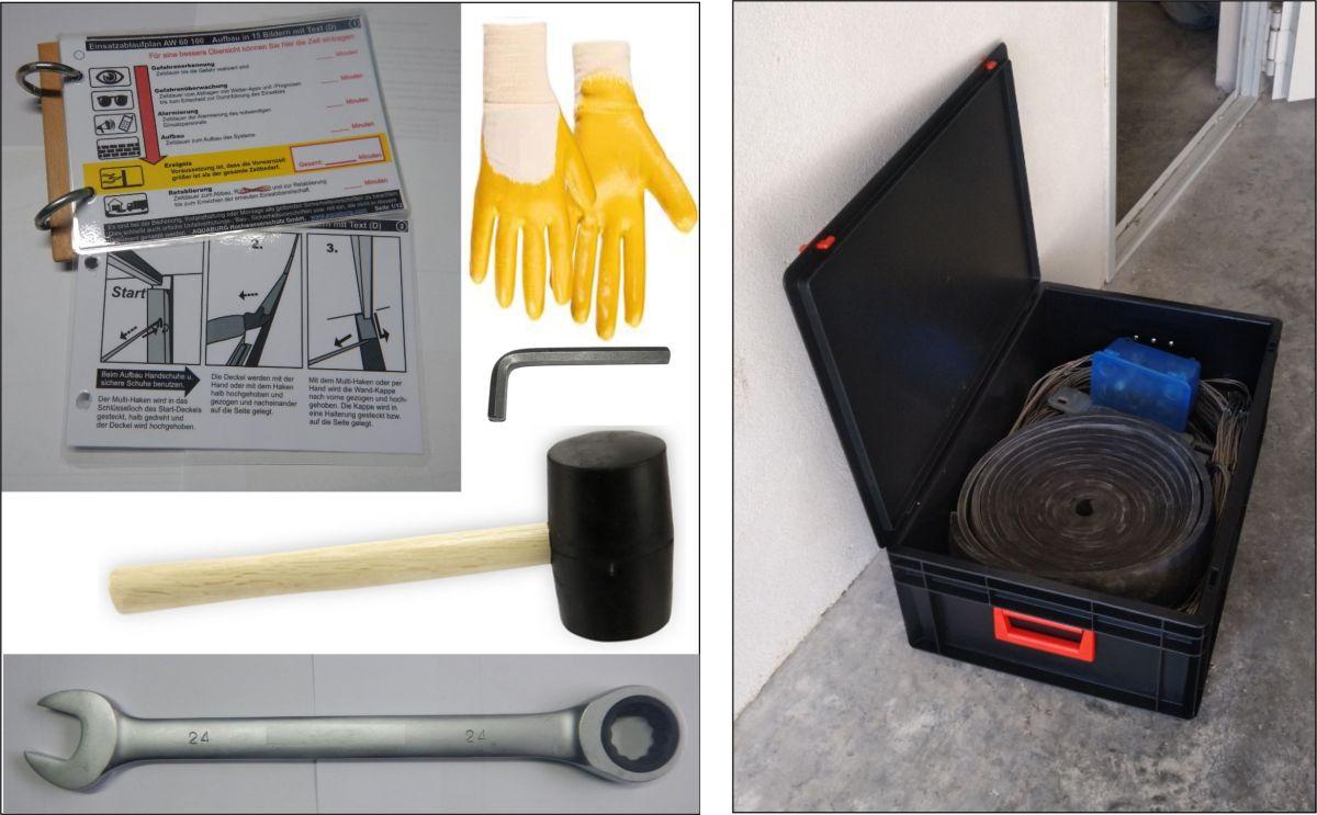 Hochwasserschutzzubehör Lagerbox mit Werkzeug